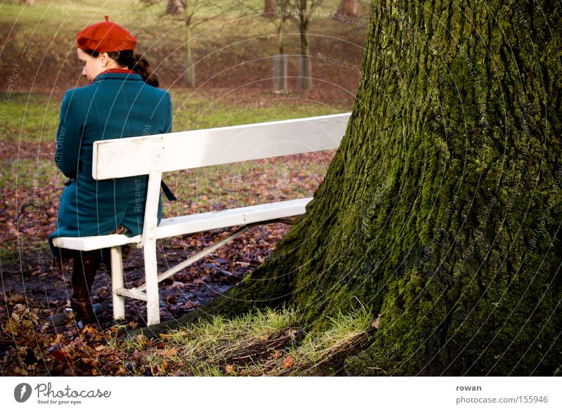 moment in the park Park Park bench Sit Woman Think Calm Relaxation Tree Autumn Cold Grief Loneliness Garden ponder Sadness