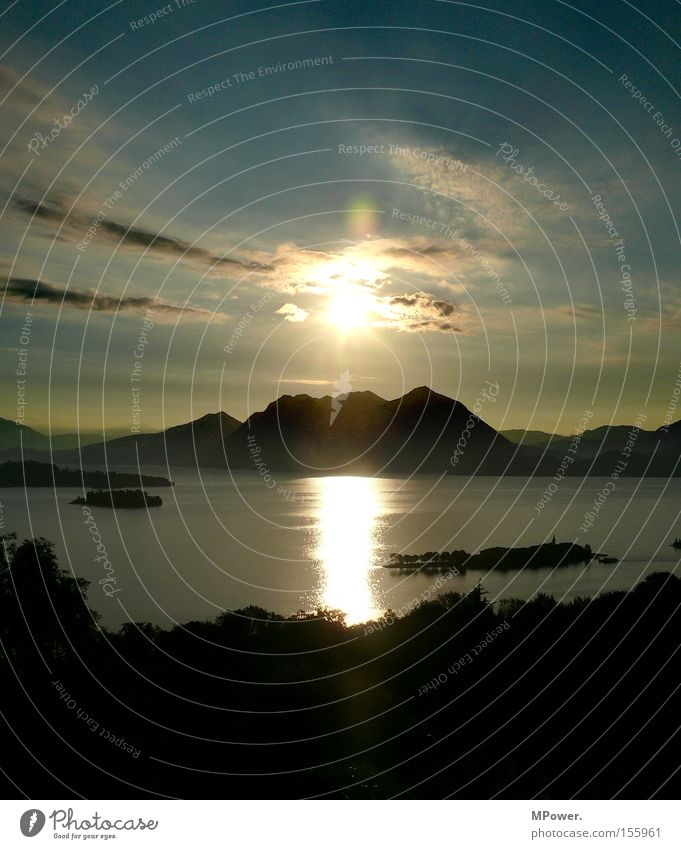 Lake Sun Italy Sunrise Sunset Panorama (View) Vantage point Vacation & Travel South Summer Mountain Lago Maggiore Alps Large