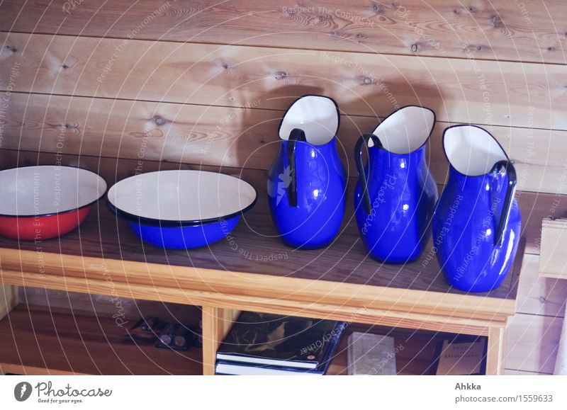 car wash Bowl Clean Shelves Wood Jug Soft Country house Rustic style room Blue Red Exceptional Distinctive Accumulation Open Room Things Wash Colour photo