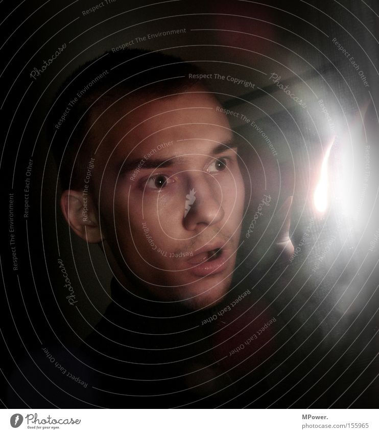Man Face Lamp Dark Fear Masculine Obscure Panic Amazed Horror Awareness Enchanting Photo laboratory