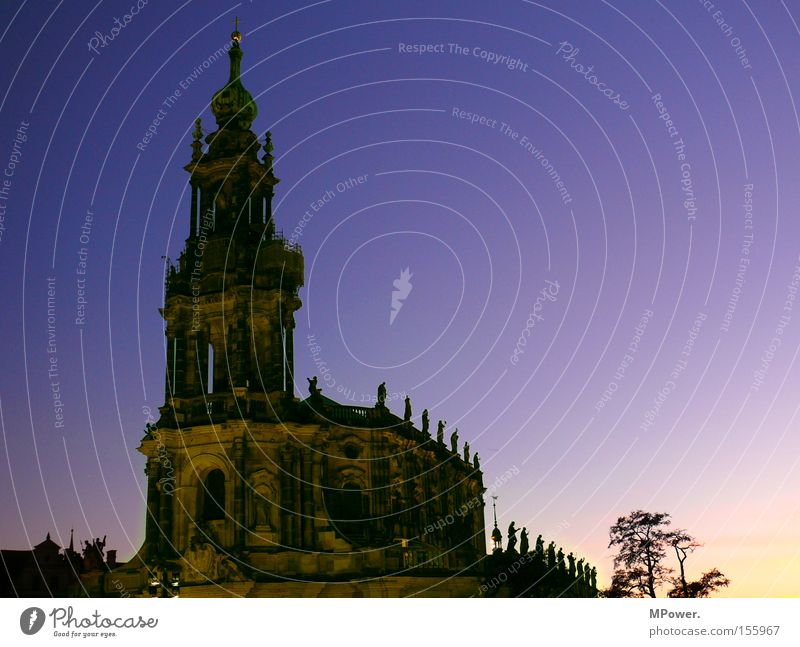 Religion and faith Culture Dresden Historic Dusk Old building Old town House of worship Color gradient Play of colours Evening sun