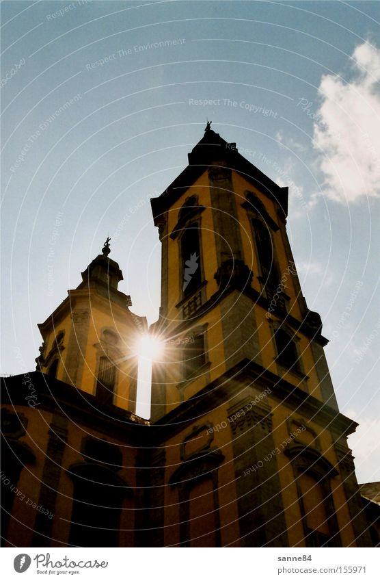 baroque sun Church Church spire Sun Sky Sunbeam Blue Yellow Dazzle Bright Light Shadow Clouds Baroque House of worship Column Architecture