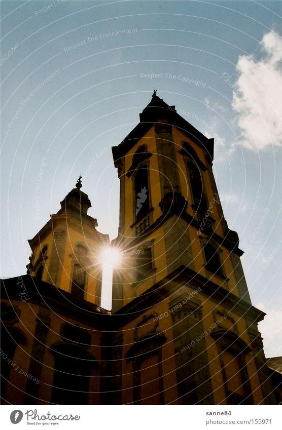 Sky Sun Blue Clouds Yellow Bright Architecture Church Dazzle Column Baroque House of worship Church spire