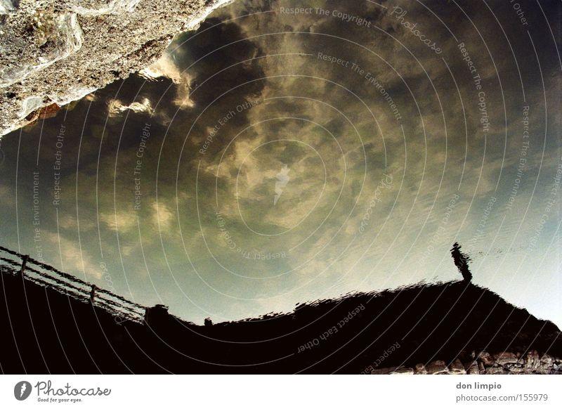 Human being Sky Clouds Wall (barrier) Bridge River Analog Brook