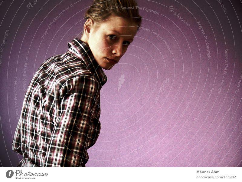 Woman Back Clothing Shirt Rotate Feeble Checkered Blouse