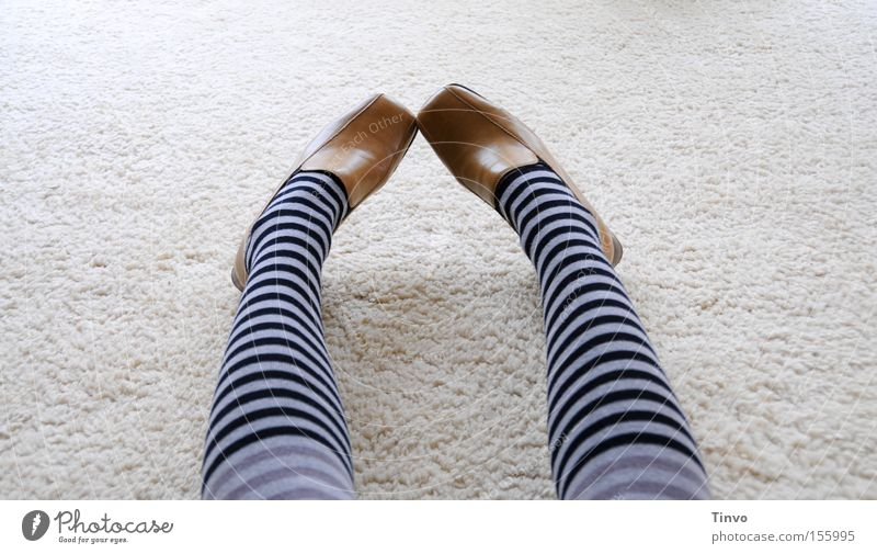 I'll change it back! Or...? Tights Striped pantyhose Footwear Timidity Looking Sheepish Legs Boredom Woman polished shoes low shoes Berber carpet wool carpet
