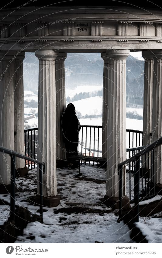 Woman Loneliness Far-off places Snow Sadness Wait Hope Grief Vantage point Transience Longing Pain Historic Distress Goodbye Temple