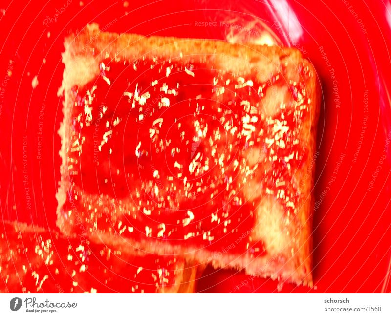 Red Nutrition Breakfast Bread Plate Jam Toast