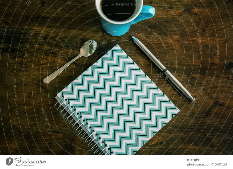 /\/\/\/\/\/\ Notebook, spoon, pen and coffee cup on an old wooden table Coffee Cup Spoon Profession Office work Workplace Media industry Advertising Industry