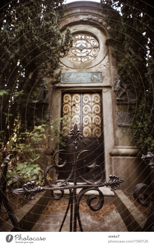 Last door crypt Facade Door Calm Grief Death Cemetery Gate Ornate Closed Subdued colour Exterior shot Deserted