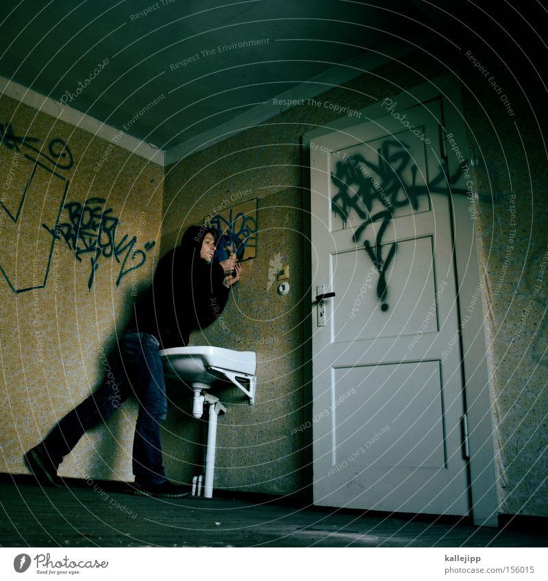 Human being Man Graffiti Door Room Clean Bathroom Mirror Wallpaper Location Door handle Sink Body care tools Washhouse