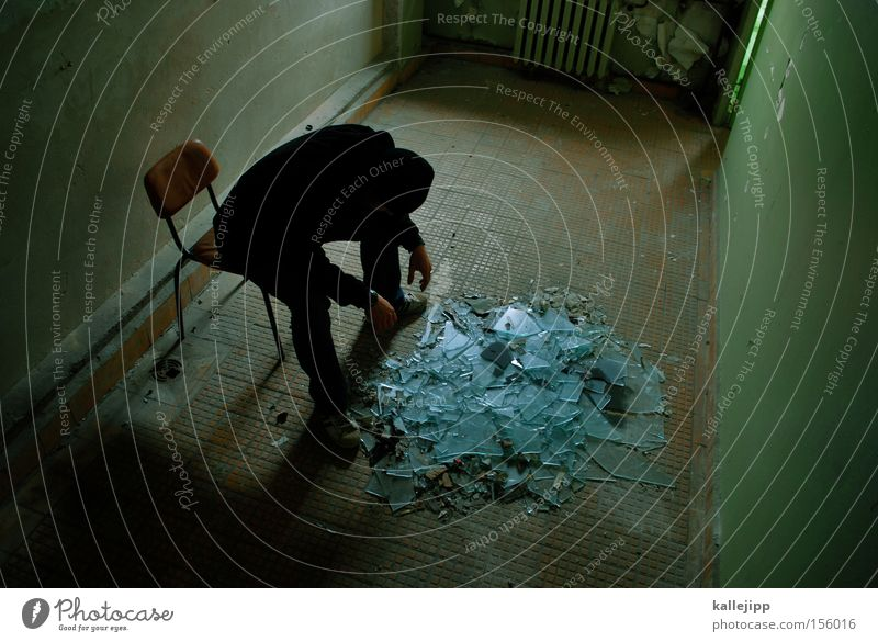 Human being Man Emotions Happy Sadness Room Glass Sit Grief Future Chair Past Distress Disaster Location
