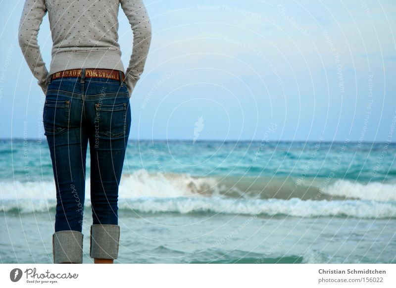Day at the sea Ocean Mediterranean sea Beach Waves Water Vacation & Travel Spain Majorca Summer Sky Jeans Belt Bottom Woman Woman at the sea View of the sea