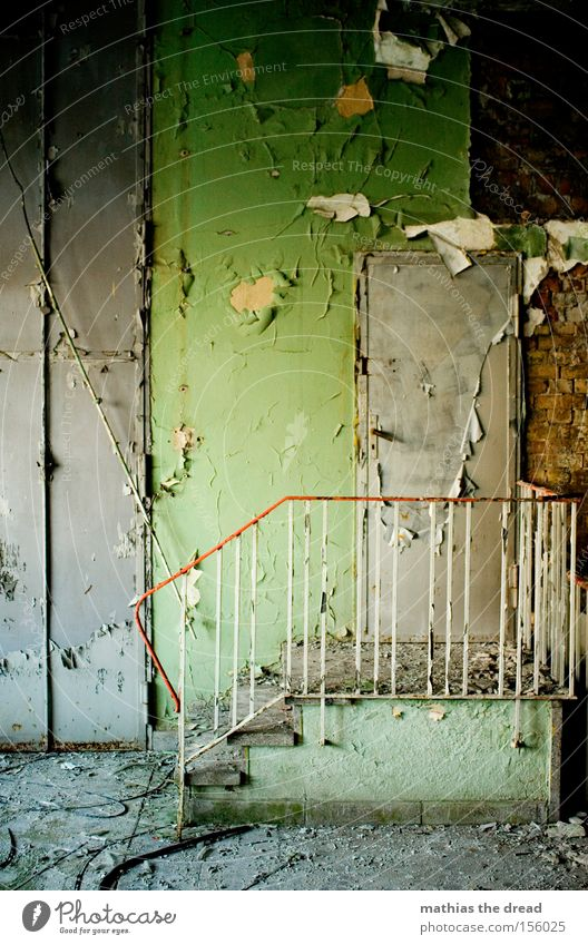 Stairway to heaven Wall (building) Room Stairs Green Plaster Old Shabby Dirty Loneliness Calm Beautiful Derelict Handrail Colour crumble away Door unhuman
