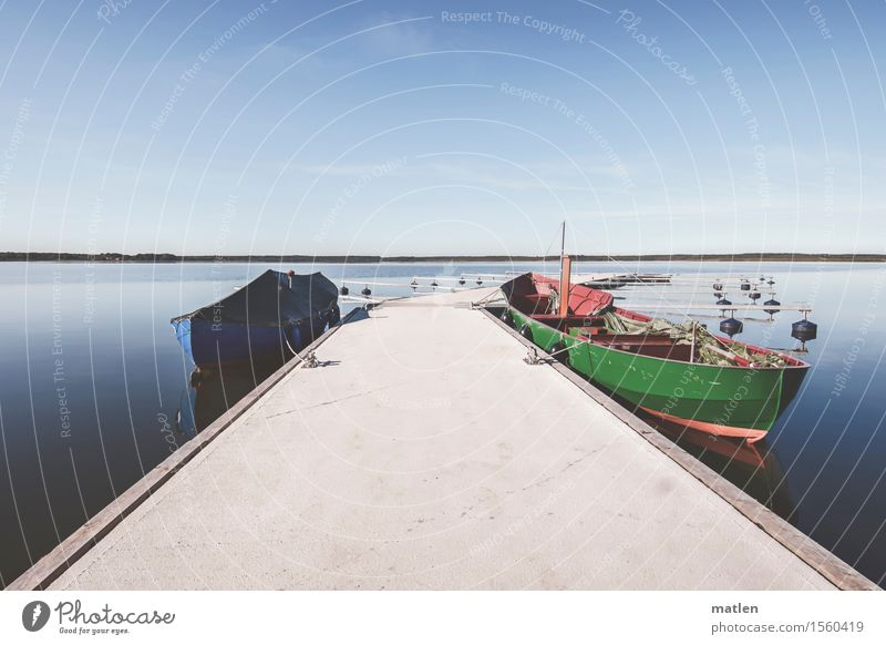 new jetty and old barge Landscape Sky Cloudless sky Horizon Beautiful weather Lakeside Inland navigation Fishing boat Harbour Yacht harbour Blue Green Red White