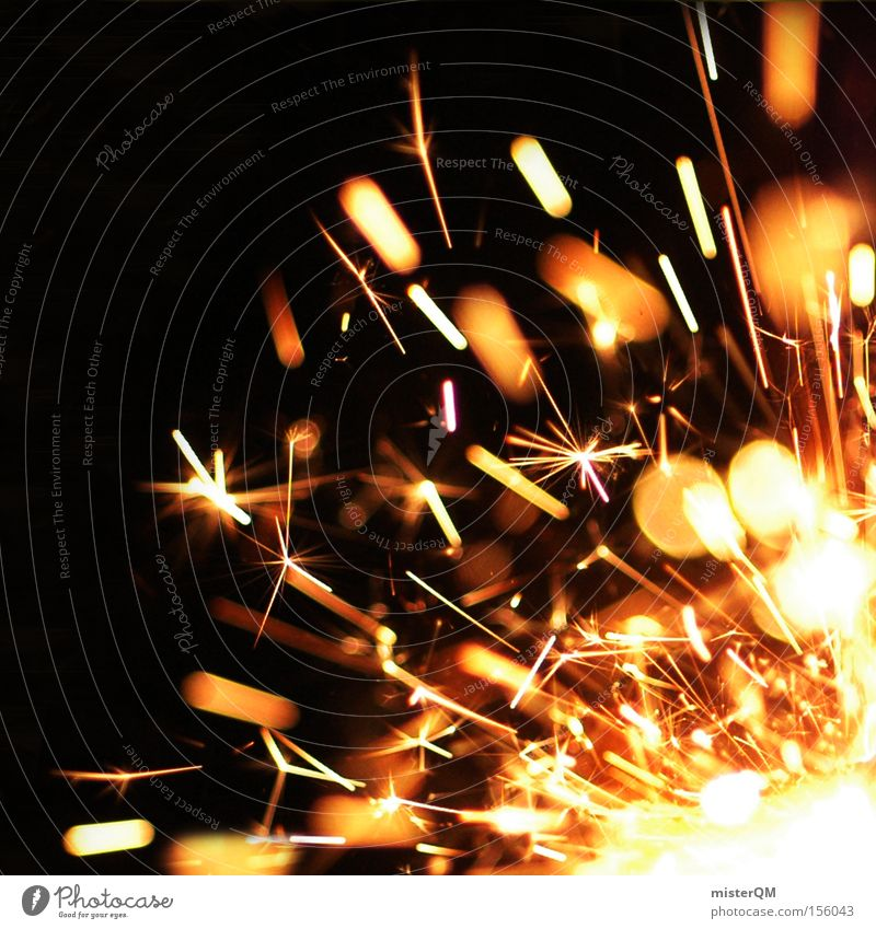 New Year's Eve party - flying sparks. Spark Explosive Explosion Rousing Hot Blaze Fire Burn Snapshot Feasts & Celebrations Magic Fascinating Dangerous Detail