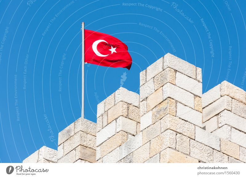 Fortress Turkey. Vacation & Travel Sightseeing Summer vacation foça Asia Castle Tower Building Tourist Attraction Flag Half moon Historic Blue Red Honor Power