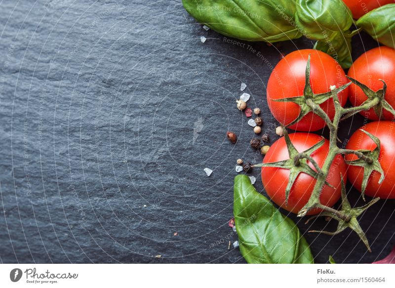 Tomato basil on slate Food Vegetable Lettuce Salad Herbs and spices Nutrition Organic produce Vegetarian diet Diet Italian Food Kitchen Fresh Healthy Delicious