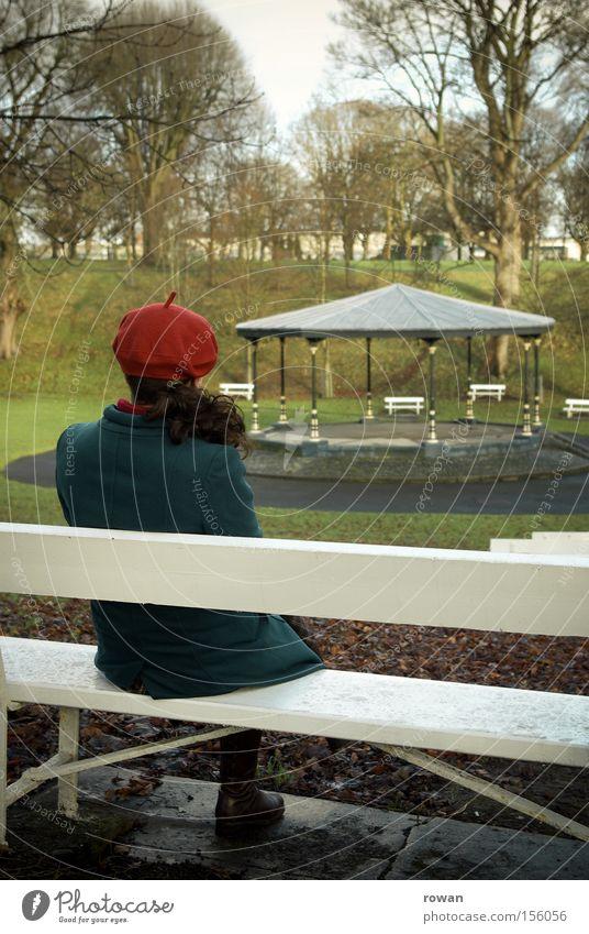 Woman Winter Calm Loneliness Autumn Garden Park Think Grief Bench Concert Distress Orchestra Stop short Pavilion