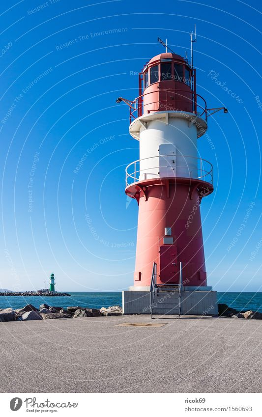 Pier lights in Warnemünde Vacation & Travel Tourism Ocean Nature Landscape Water Coast Baltic Sea Tower Lighthouse Tourist Attraction Landmark Stone Blue Green