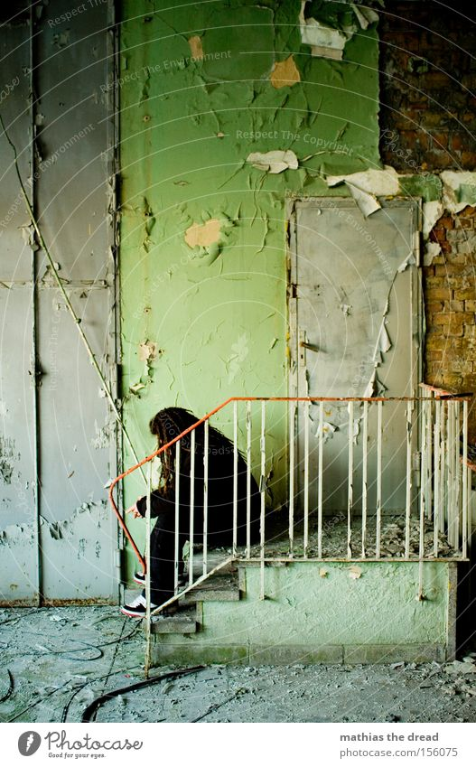 doormen Wall (building) Sit Stairs Grief Green Plaster Colour Old Shabby Dirty Door Man Loneliness Calm Beautiful Derelict Transience