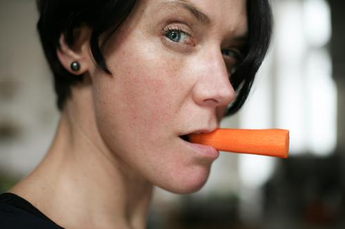 Carrot instead of cigar ! Food Vegetable Raw vegetables Nutrition Eating Organic produce Vegetarian diet Diet Lifestyle Style Woman Adults Face 1 Human being