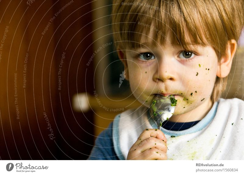 Boy eats spinach Food Nutrition Eating Spoon Healthy Eating Human being Masculine Child Toddler Boy (child) Face 1 1 - 3 years Dirty Small Cute green To enjoy