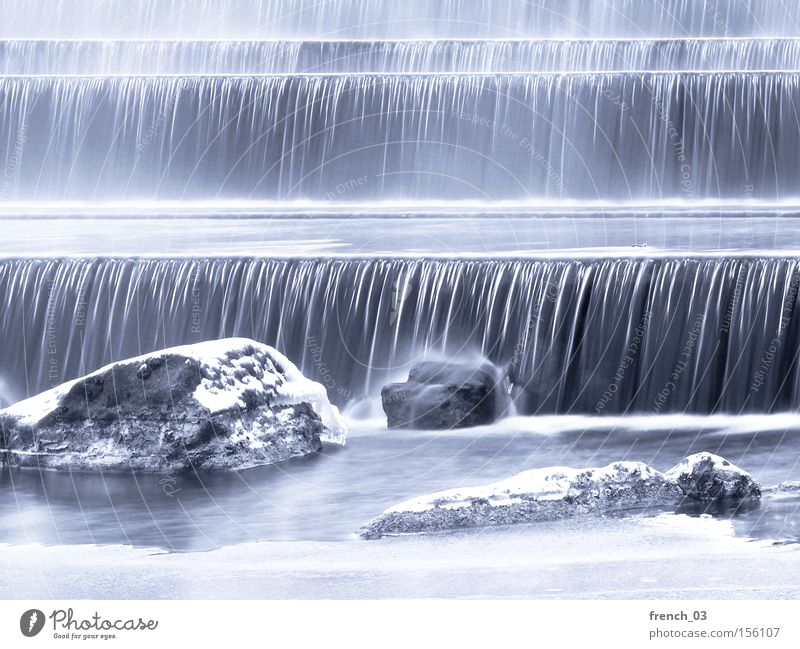 frosty cold Winter Snow Water Ice Frost Rock River Waterfall Line Freeze Cold White Movement Flow Height difference Current Gravity Hissing Barrage Weir