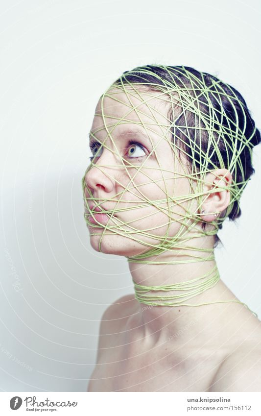 ..ficelle Face Handcrafts Craft (trade) Woman Adults Head String Net Green Emotions Pure Bound Entangle Integration Lie (Untruth) Coil Studio shot
