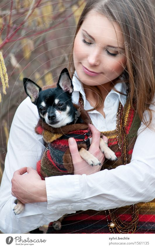 The girl and her dog Elegant Style Beautiful Well-being Contentment Calm Human being Feminine Young woman Youth (Young adults) Life 18 - 30 years Adults