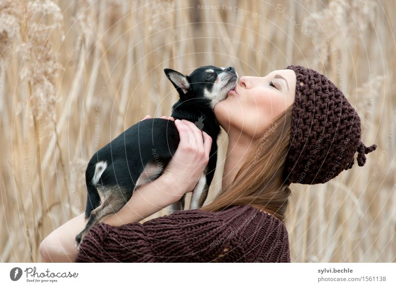 Human being Dog Nature Youth (Young adults) Plant Young woman Animal 18 - 30 years Adults Life Love Feminine Grass Style Happy Fashion