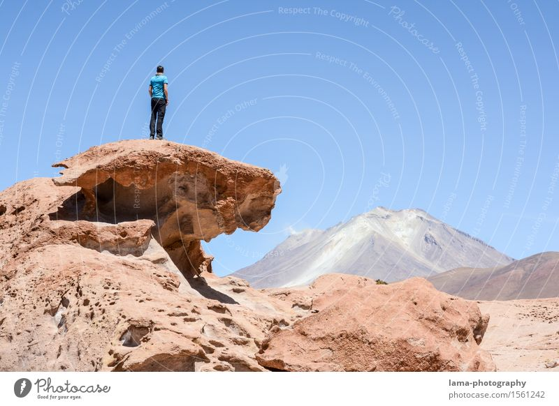 Human being Nature Vacation & Travel Landscape Far-off places Freedom Rock Hiking Trip Adventure Peak Elements Volcano South America Bolivia Salar de Uyuni