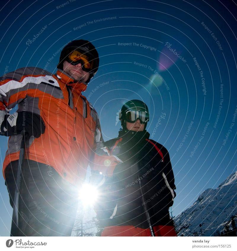 Sky Man Blue Sun Winter Cold Snow Sports Friendship 2 Stand Beautiful weather Eyeglasses Peak Skiing Skis