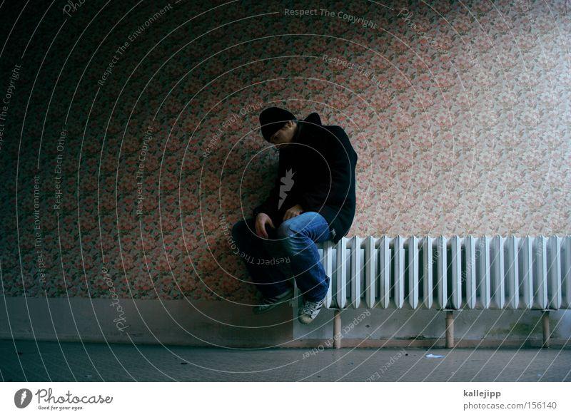 Human being Man Cold Warmth Flat (apartment) Wallpaper Distress Heater Paying Heating Tenant Problem
