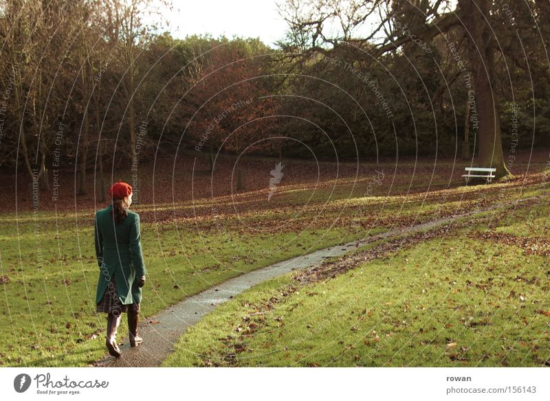 Woman Tree Calm Loneliness Relaxation Autumn Garden Sadness Lanes & trails Park Going Grief To go for a walk Bench Park bench