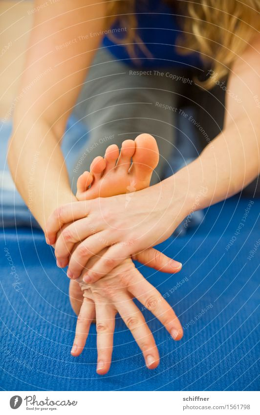Human being Blue Hand Relaxation Calm Feminine Sports Feet Leisure and hobbies Body Arm Fingers Well-being Meditation Yoga Stretching