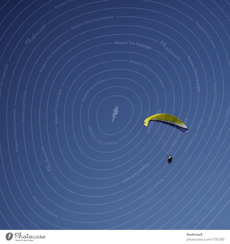 Sky Freedom Flying Free Leisure and hobbies Airport Hover Paragliding Blue sky Parachute Funsport Paraglider Glide Monstrous Flying sports Skydiver