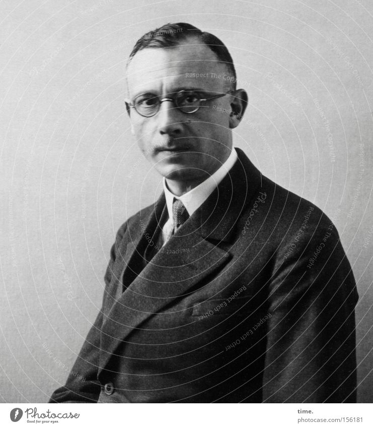 Arthur, teacher Masculine Man Adults Suit Tie Eyeglasses Short-haired Concentrate Earnest Collar Haircut Dim Former Change Black & white photo