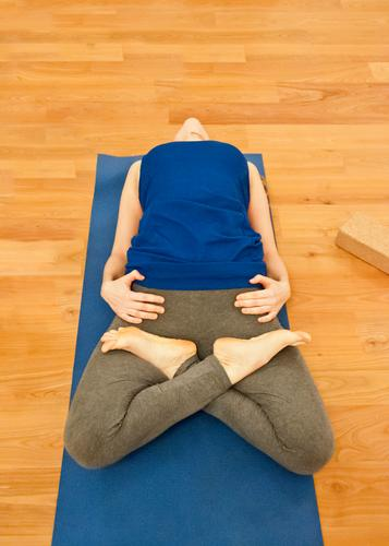 Human being Blue Hand Relaxation Calm Sports Feminine Healthy Health care Feet Leisure and hobbies Body Athletic Meditation Yoga Practice