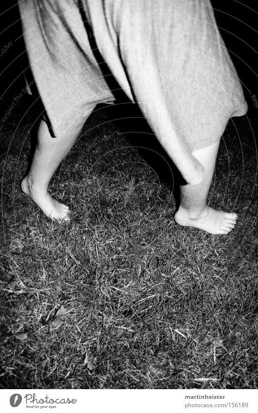 barefoot 2 Barefoot Woman Grass Winter Cold Night Dark Black & white photo Crazy Loneliness Feet Lawn