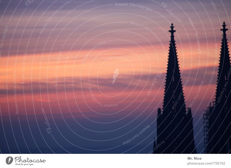 Sky Religion and faith Art Germany Back Cologne Monument Sunset Landmark Dome Home country Cathedral Tourist Attraction Church Cologne Cathedral Church spire