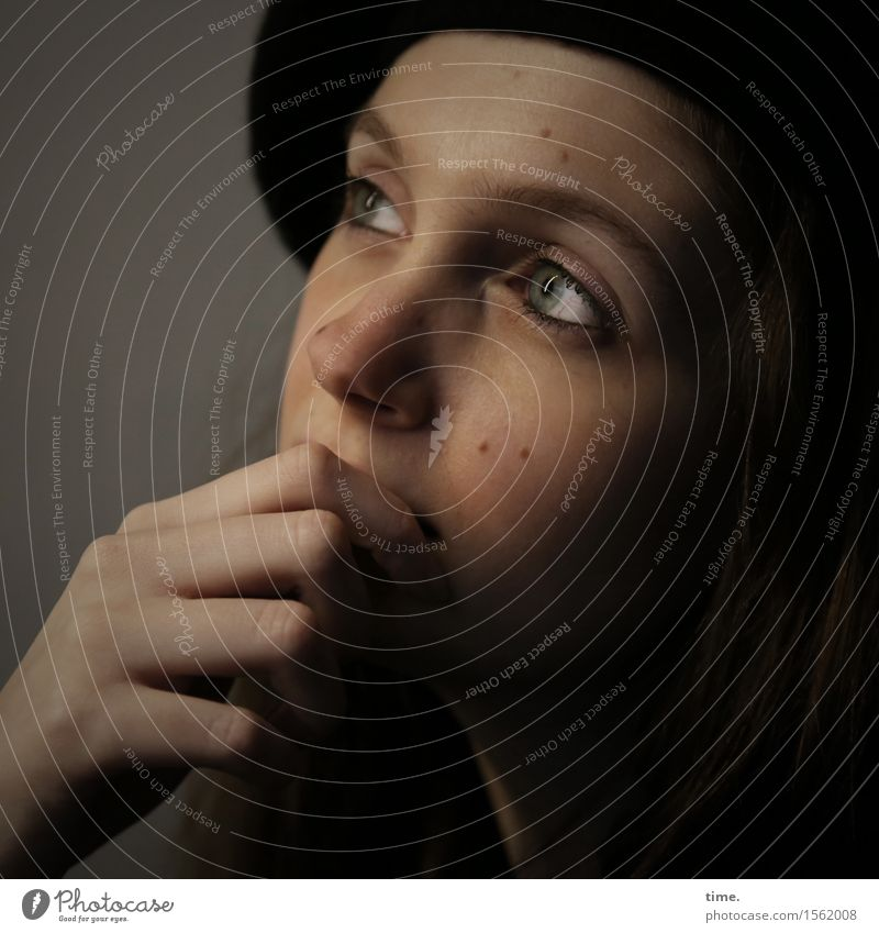 . Feminine 1 Human being Hat Beret Brunette Long-haired Observe Think Looking Dream Wait Beautiful Emotions Moody Passion Protection Conscientiously Caution