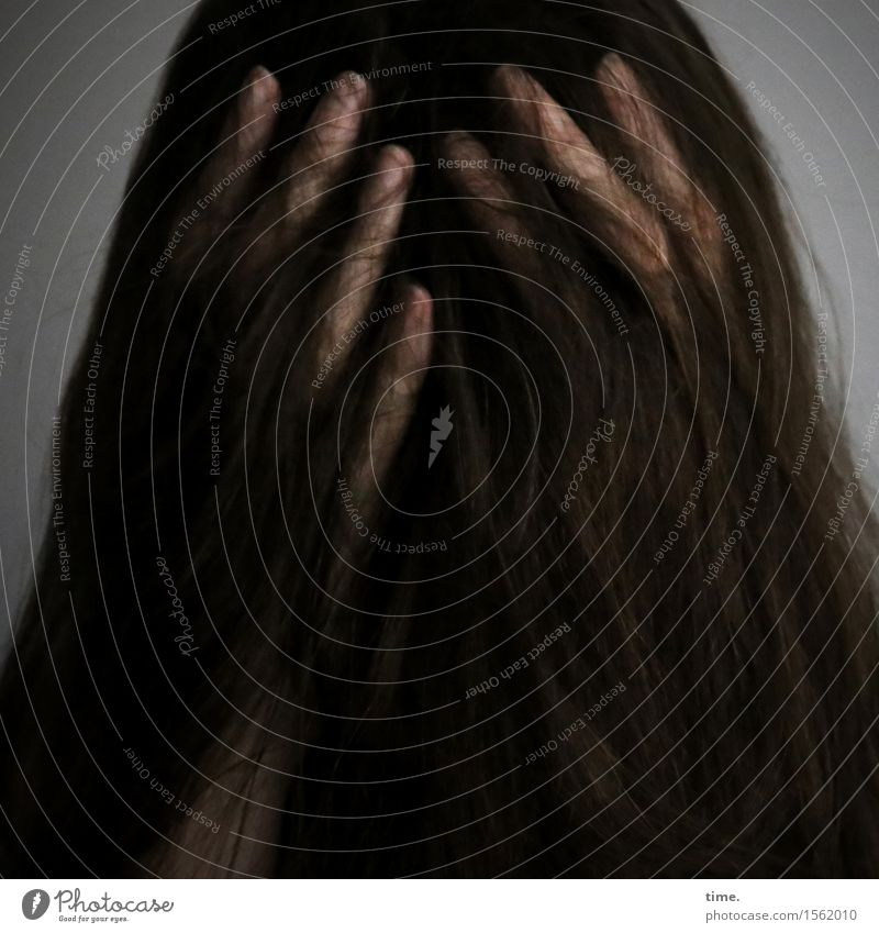 Human being Loneliness Dark Sadness Feminine Exceptional Think Hair and hairstyles Fear Fingers Protection Grief To hold on Pain Long-haired Brunette