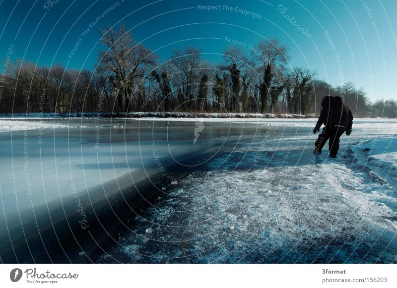 Blue Winter Cold Lake Ice Dangerous Threat Concentrate Frozen Risk Attempt Expectation Caution Amazed Solidify