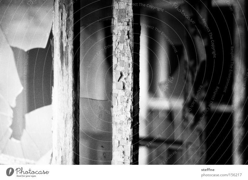 Old White Black Window Broken Derelict Broken Frame Varnish Ravages of time