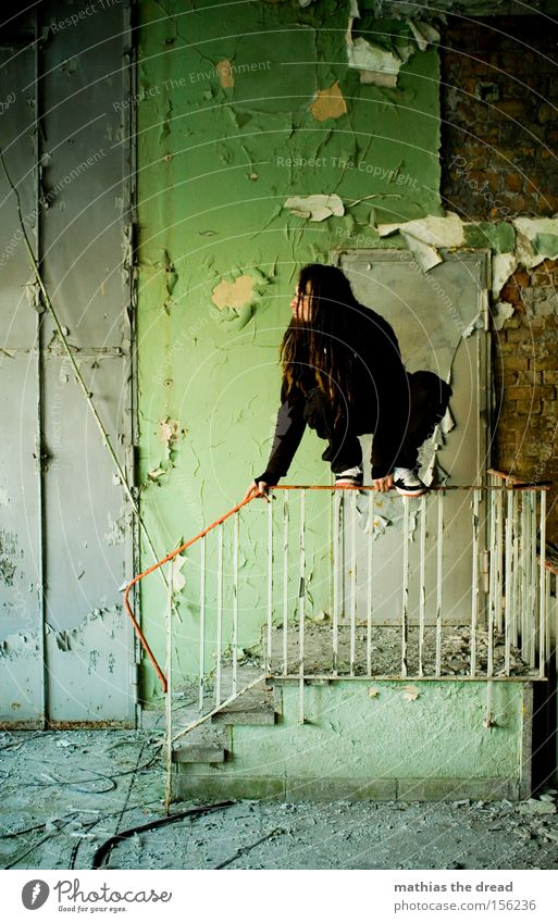 wait-and-see position Wall (building) Sit Stairs Grief Green Plaster Colour Dye Old Shabby Dirty Door Man Loneliness Calm Beautiful Derelict Transience