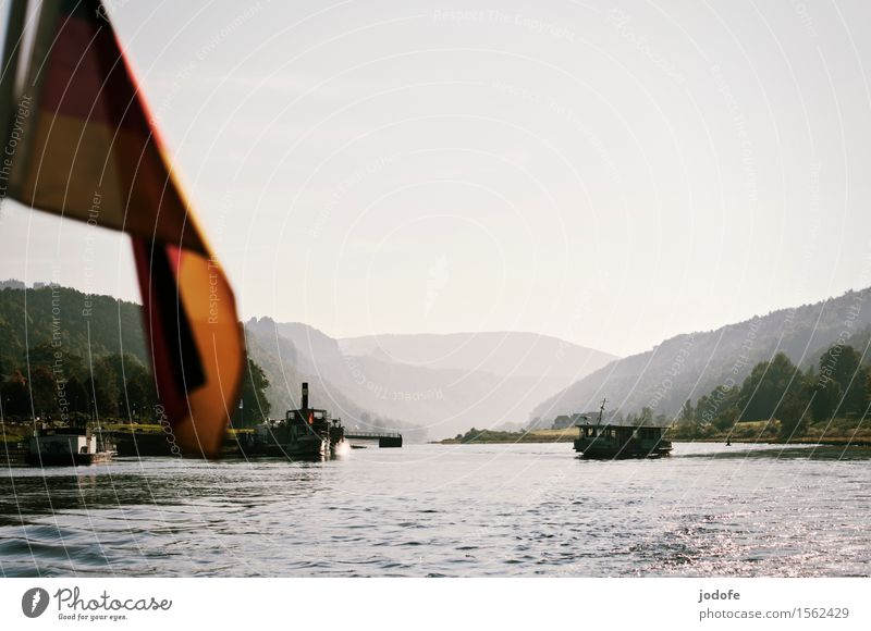 On the Elbe Nature Landscape Water Beautiful weather Plant Forest Hill Rock Mountain Waves River bank Navigation Inland navigation Boating trip Passenger ship