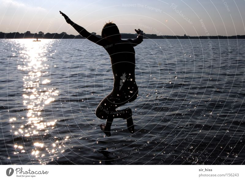 and... Clap! Water Sun Jump Walking Throw Lake Swimming & Bathing Summer Drops of water Glittering Reflection Joy Applause Plau Reflection & Reflection