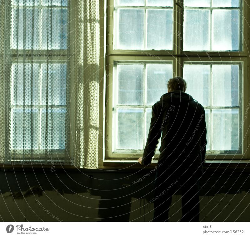 the opposite pt.2 Human being Window Glass Window pane Slice Derelict Shabby Dirty Drape Opposite Vantage point Looking Observe Fear Panic Loneliness