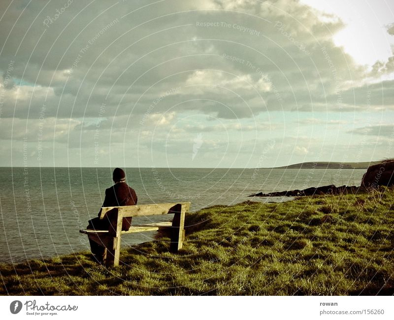 Nature Ocean Green Beach Calm Far-off places Relaxation Coast Sit Break Bench Vantage point Ireland
